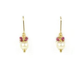 Orecchini perla radici rubino amo sicuro in oro giallo tit 750 (18 kt) conpietre naturali di radice di rubino e perla coltivata in acqua salata akoya