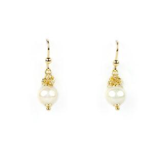 Orecchini perla amo sicuro in oro giallo tit 750 (18 kt), palline modello slash in oro giallo molto luminose e perla coltivata in acqua dolce