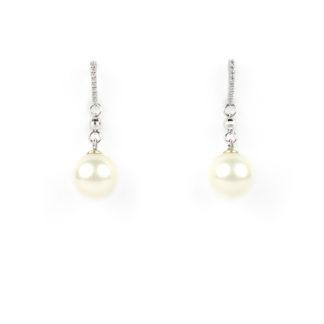 Orecchini perla e zirconi in oro bianco tit 750 (18 kt) con zirconi, perla coltivata in acqua dolce colore bianco naturale epallina sfaccettata