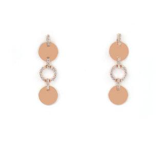 Orecchini oro rosa e zirconi, pendenti con montatura di zirconi in oro rosa tit 750 (18 kt),elementi tondi piatti lucidi in oro rosa e cerchio con zirconi