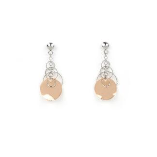 Orecchini pendenti in oro rosa e oro bianco tit 750 con cerchi sottili lavorazione diamantata di varie dimensioni, elemento tondo curvo in oro rosa