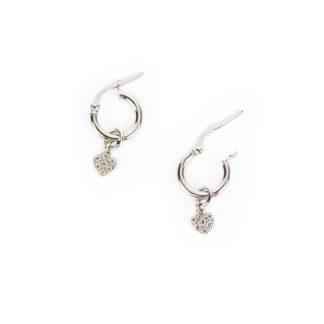 Orecchini a cerchio con cuore di zirconi, in oro bianco tit 750 (18 kt); rimuovendo il cuore pendente si ottiene un classico orecchino a cerchio