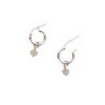 Orecchini cerchio cuore zirconi, orecchini cerchio in oro bianco tit 750 (18 kt) con ciondolo rimovibile formato da un cuore pavé di zirconi