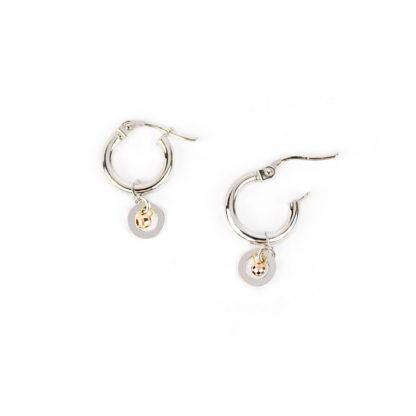 Orecchini cerchio oro bianco, orecchini a cerchio in oro bianco tit 750 (18 kt) con ciondolo rimovibile di 6 mm con pallina in oro rosa