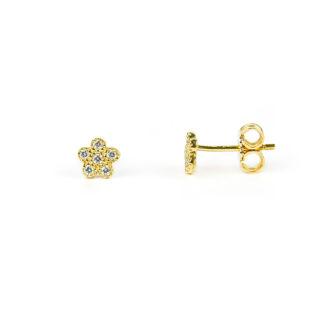 Orecchini fiorellino oro giallo bambina o donna secondo buco, perno e farfallina; fiorellini con zirconi, in oro giallo tit 750 (18 kt)