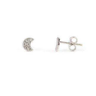 Orecchini luna con zirconi, perno e farfallina in oro bianco tit 750 (18 kt); orecchini da bambina o donna per secondo buco