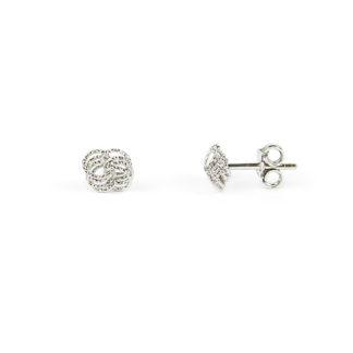 Orecchini nodino oro bianco perno e farfallina, soggetto nodo in oro bianco tit 750 (18 kt); orecchini da bambina o donna secondo buco