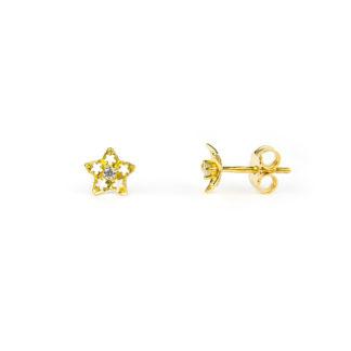 Orecchini stella oro giallo; orecchini perno e farfallina soggetto stella traforata in oro giallo tit 750 (18 kt) con zircone, orecchni donna e bambina