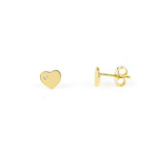 Orecchini cuore oro giallo; orecchini perno e farfallina soggetto cuore con zircone laterale, in oro giallo tit 750 (18 kt), orecchini da donna e bambina