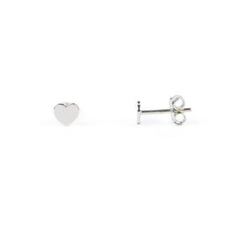 Orecchini cuore liscio a specchio, perno e farfallina, soggetto cuore piatto, liscio e lucido in oro bianco tit 750 (18 kt), orecchini da donna e bambina