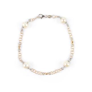 Bracciale perle oro rosa 750 bicolore, bracciela donna oro rosa, palline lavorazione sfaccettata in oro rosa, perle coltivate acqua dolce