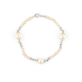 Bracciale perle oro rosa 750 bicolore con palline lavorazione sfaccettata in oro bianco e con perle coltivate acqua dolce misura 9/ 9,5 mm
