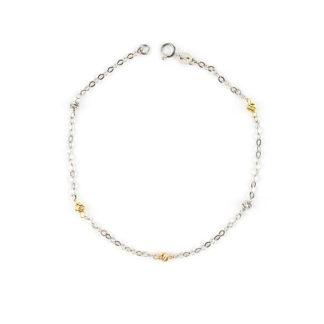 Bracciale in oro bianco donna oro tre colori, oro bianco 750 con palline lavorazione slash, molto luminose a tre colori alternati (bianco-giallo-rosè)