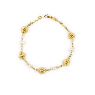 Bracciale perle fiori donna in oro giallo 750 con perle coltivate acqua dolce misura 4,5/5 mm, fiori bombati e traforati di diametro 8 mm