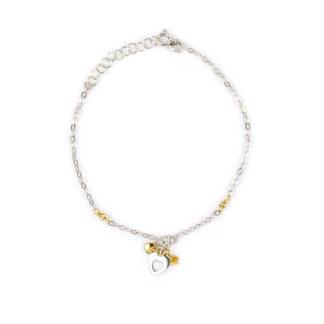 Bracciale bicolore con cuore donna oro bianco 750 palline oro giallo lavorazione slash, cuore pendente vuoto al centro, due cuori più piccoli in oro giallo