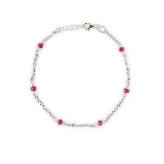 Bracciale radice di rubino donna in oro bianco 750 con pietre naturali radice di rubino (rosso); catenarolò ovale massiccia, diamantata, molto lucente