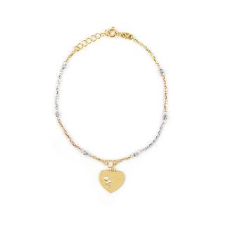 Bracciale cuore oro giallo donna a tre colori giallo, rosè, bianco oro 750 palline lavorazione slash in oro bianco e cuore pendente in oro giallo