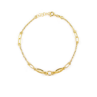Bracciale con filigrana donna e bambina in oro giallo 750, elemento ovale centrale con ai lati elementi in filigrana ed elementi puntinati ovali