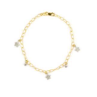 Braccialetto bambina stelle, oro giallo 750 con pendenti di stelle con pavé di zirconi alternate a palline lavorazione sfaccettata
