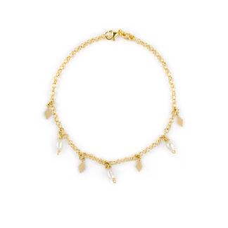 Braccialetto bambina perle, oro giallo 750 con pendenti di perle a fagiolino coltivate in acqua dolce e elementi a rombo, lisci e lucidi