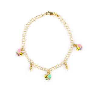 Braccialetto bambina farfalle colorate, oro giallo 750 con pendenti di farfalline colorate con smalti, alternate a palline di lavorazione slash