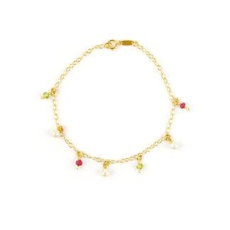 Braccialetto bambina in oro giallo 750, con pietre pendenti: radice di rubino (rosso), perla coltivata in acqua dolce 4 mm e pietre di laboratorio verdi