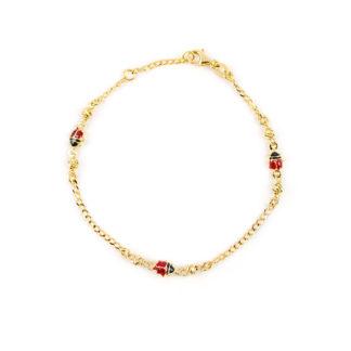 Braccialetto bambina coccinelle oro giallo 750, lineare con tre coccinelle rosse di smalti, con palline slash laterali ad ogni coccinella