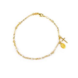 Bracciale rosario con perle donna e bambina in oro giallo 750, con croce e madonna miracolosa pendenti, palline alternate a perle coltivate in acqua dolce