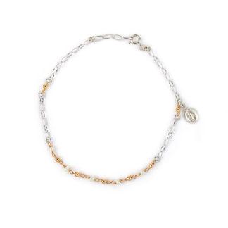 Bracciale rosario perle donna e bambina in oro bianco 750 madonna miracolosa pendente, palline in oro rosè alternate a perle coltivate in acqua dolce