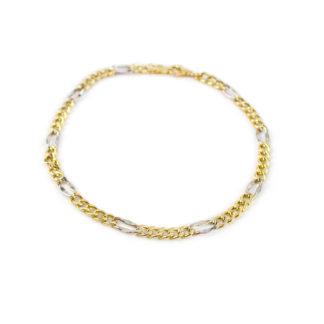 Bracciale uomo bicolore, in oro giallo 750, lineare, catena modello groumette, con elementi ovali in oro bianco; bracciale elegante