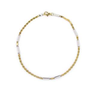 Bracciale uomo in oro giallo e bianco 750, lineare, composto da catena piatta massiccia, alternata da due elementi rettangolari in oro bianco lucido