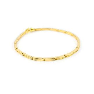 Bracciale uomo in oro giallo 750, lineare, canna vuota con rotaia centrale leggermente satinata su ogni elemento; bracciale molto robusto