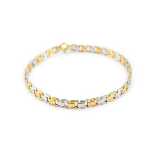 Bracciale uomo bicolore in oro giallo e bianco 750, lineare e scatolato, composto da elementi quadrati; catena canna vuota, elegante