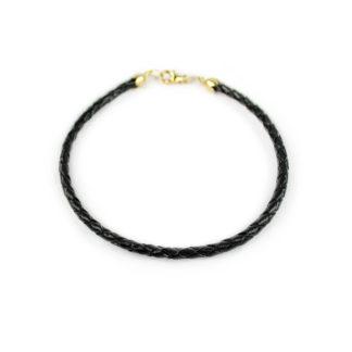 Bracciale uomo in pelle nera intrecciata, tonda,con chiusura in oro giallo 750; idea regalo bracciale uomo e ragazzo giovane