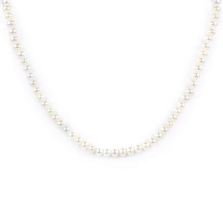 Collana girocollo donna di perle coltivate in acqua dolce, misura mm 5 - 5,5 con chiusura in oro giallo tit 750 (18 kt) elegante e raffinata