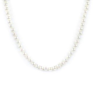 Collana girocollo di perle coltivate in acqua dolce, misura mm 5 - 5,5 con chiusura in oro giallo tit 750 (18 kt), infilata a mano con nodi ad ogni perla
