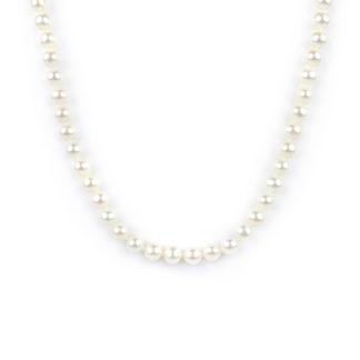 Collana girocollo di perle coltivate in acqua dolce, misura mm 6 - 6,5 con chiusura in oro giallo tit 750 (18 kt), infilata a mano con nodi ad ogni perla