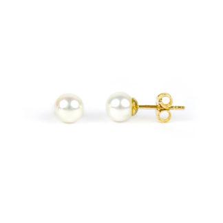 Orecchini perle acqua dolce misura mm 6 - 6,5 in oro giallo tit 750. Perle di alto grado e ottima coltivazione, molto brillanti