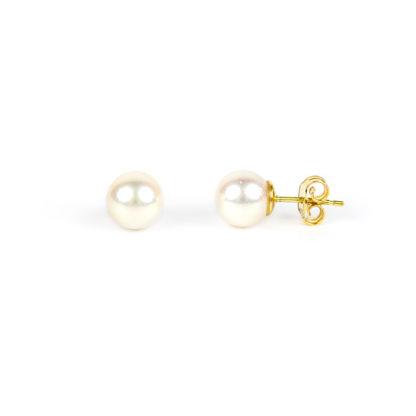 Orecchini donna perle acqua salata misura mm 8 in oro giallo tit 750. Perle di alto grado e ottima coltivazione, molto brillanti