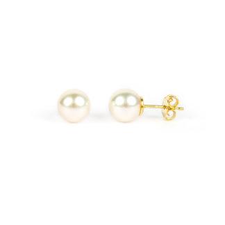 Orecchini perle coltivate acqua salata misura mm 8,5-9 in oro giallo tit 750. Perle di alto grado e ottima coltivazione, molto brillanti