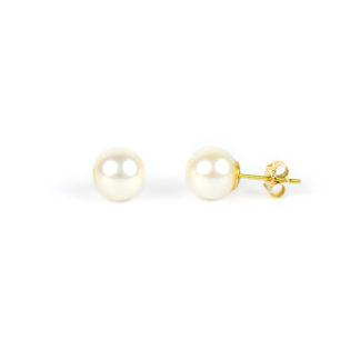 Orecchini di perle coltivate in acqua dolce mm 9,5 in oro giallo tit 750. Perle di alto grado e ottima coltivazione, luminose