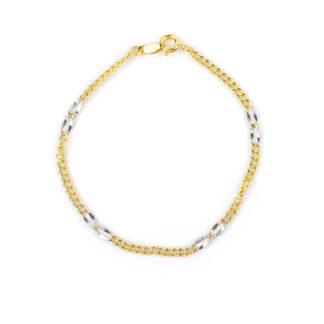 Bracciale battesimo oro bicolore in oro giallo e bianco 750 lineare, catena vuota larga 2,35 mm; braccialetto per bambino e bambina