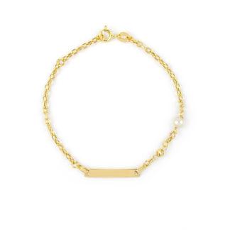 Bracciale battesimo oro perla, braccialetto in oro giallo 750 con targhetta liscia e leggermente curva e perla coltivata acqua dolce