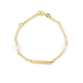 Bracciale battesimo oro perle, braccialetto in oro giallo 750 con targhetta liscia e leggermente curva e perle coltivate acqua dolce