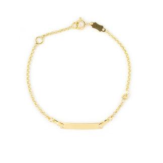 Bracciale battesimo oro giallo 750 con targhetta liscia e leggermente curva di dimensione 20x3 mm e una pallina slash; catena rolò tonda massiccia
