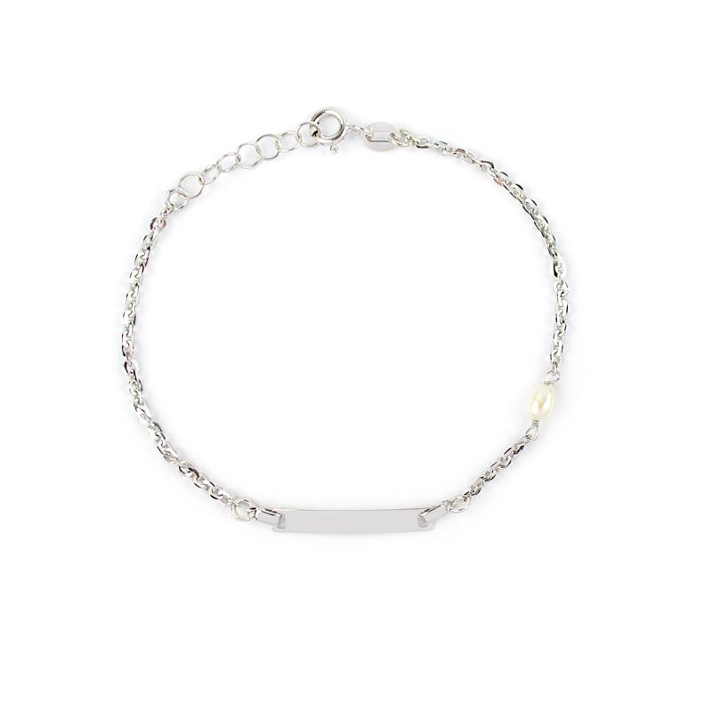 rivenditore all'ingrosso 8de7f 8f120 Bracciale battesimo in oro bianco con targhetta e perla - Sari Gold
