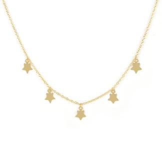 Collana stelle oro giallo; girocollo donna in oro giallo tit 750 (18 kt), con al centro cinque stelline di 7 mm, a lastra liscia e lucida