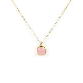 Collana oro giallo quarzo; veneziana girocollo in oro giallo tit 750 (18 kt), con ciondolo composto da quarzo rosa quadrato su montatura in oro giallo