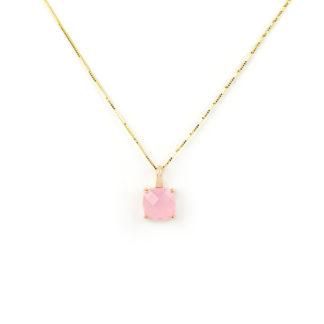 Collana oro quarzo rosa; veneziana girocollo in oro giallo tit 750 (18 kt), con ciondolo composto da quarzo rosa quadrato su montatura in oro rosa