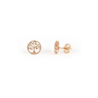 Orecchini oro rosa, orecchini perno e farfallina albero della vita in oro rosa tit 750 (18 kt); orecchini da donna e bambina